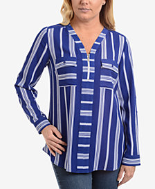 NY Collection Striped V-Neck Quarter-Zip Blouse