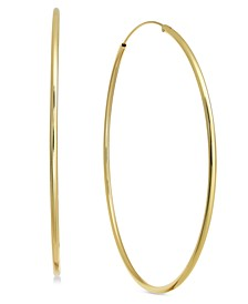 """Large Endless Plated Hoop Earrings 2-7/8"""""""