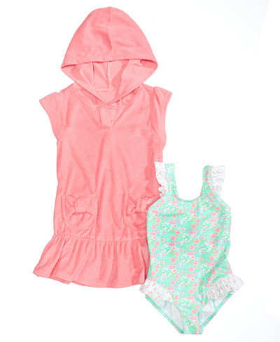 Summer Crush Hooded Cover-Up & Floral-Print Swimsuit, Toddler & Little Girls