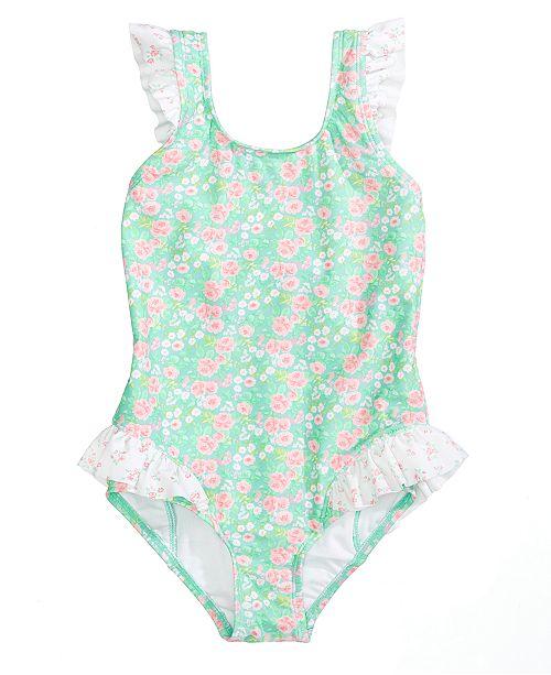 d83f40685467e Summer Crush 1-Pc. Floral-Print Ruffled Swimsuit, Toddler Girls ...