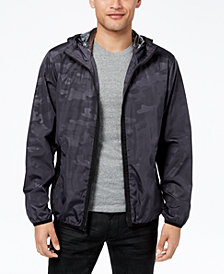 Sean John Men's Camouflage Full-Zip Hooded Windbreaker, Created for Macy's