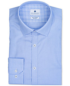 Ryan Seacrest Distinction™ Men's Ultimate Extended Sizing Slim-Fit Non-Iron Performance Stretch Light Blue Dobby Dress Shirt, Created for Macy's