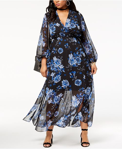 INC Plus Size Floral-Print Maxi Dress, Created for Macy\'s