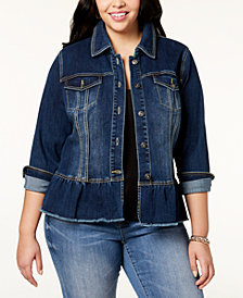 I.N.C. Plus Size Peplum Denim Jacket, Created for Macy's