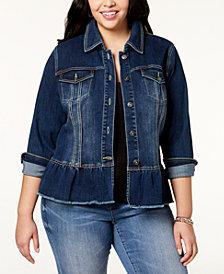 I.N.C. Plus Size Peplum Denim Jacket, Created for Macy's