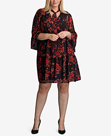 ECI Plus Size Floral-Print Peasant Dress
