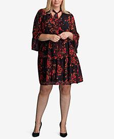 ECI Plus Size Floral-Print Peasant Dress