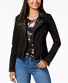Crave Fame by Almost Famous Juniors' Cotton Studded Denim Jacket