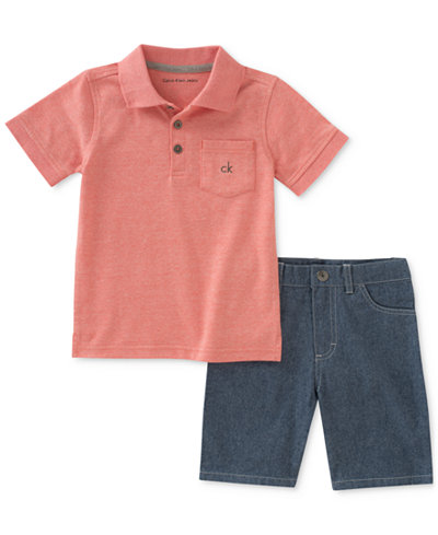 Calvin Klein 2-Pc. Pocket Polo & Shorts Set, Little Boys