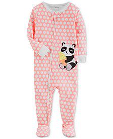 Carter's 1-Pc. Panda Footed Cotton Pajamas, Baby Girls