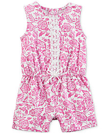 Carter's Baby Girls Printed Lace-Trim Cotton Romper