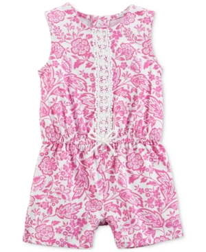 Carters Baby Girls Printed LaceTrim Cotton Romper