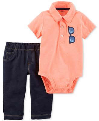 Carter's 2-Pc. Sunglass-Graphic Polo Bodysuit & Pants Set, Baby Boys