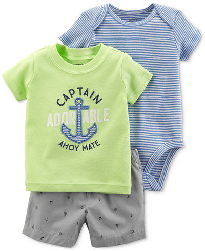 Carter's 3-Pc. Graphic-Print Cotton, Bodysuit & Shorts, Baby Boys