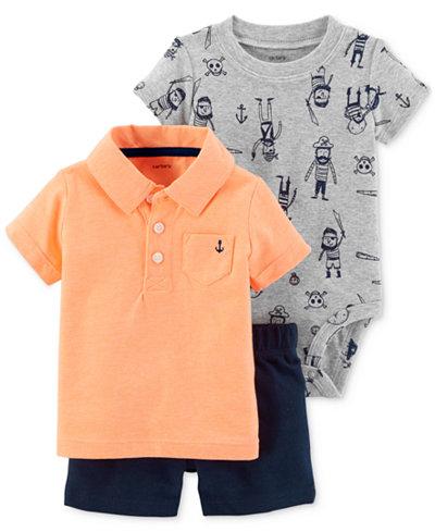 Carter's 3-Pc. Polo, Bodysuit & Shorts Set, Baby Boys