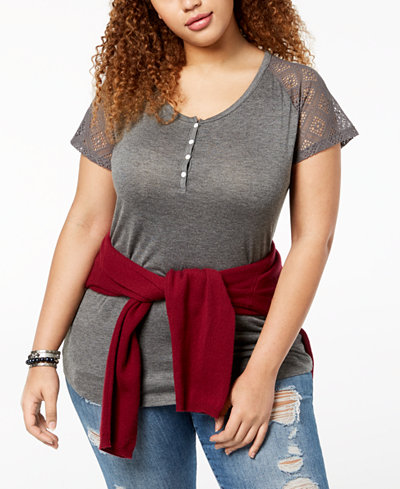 ABASIX Trendy Plus Size Lace-Sleeve Henley