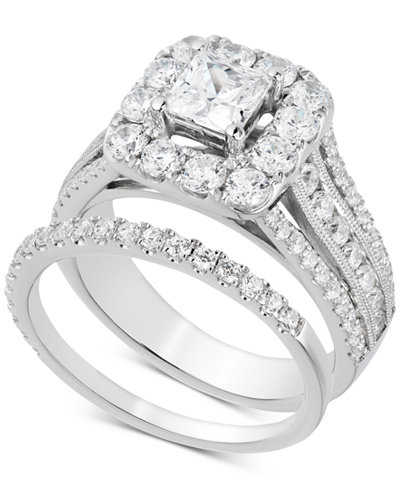 Diamond Princess Halo Bridal Set (2-1/2 ct. t.w.) in 14k White Gold