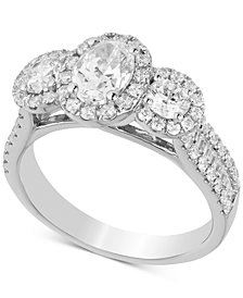 Diamond Oval Engagement Ring (2 ct. t.w.) in 14k White Gold