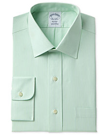Brooks Brothers Men's Milano Extra Slim-Fit Non-Iron Tonal Green Stripe Dress Shirt