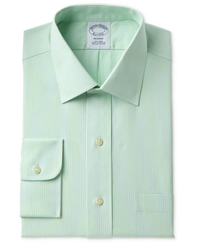 Brooks Brothers Men's Milano Slim-Fit Non-Iron Tonal Green Stripe Dress Shirt