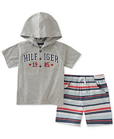 Tommy Hilfiger 2-Pc. Graphic-Print Hooded T-Shirt & Shorts Set, Baby Boys