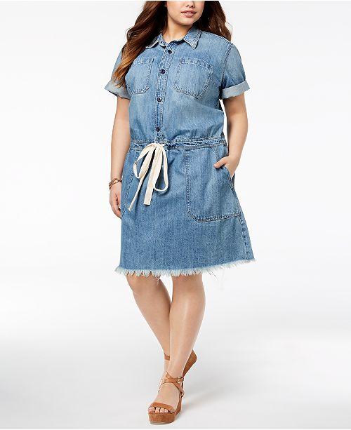 Lucky Brand Trendy Plus Size Cotton Chambray Shirtdress Dresses