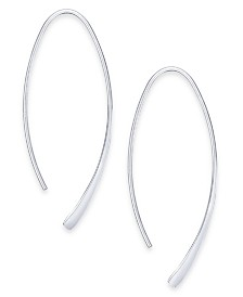 Essentials Large Silver Plated Polished Wire Threader Earrings