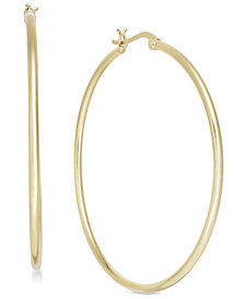 Essentials Large Gold Plated Polished Hoop Earrings