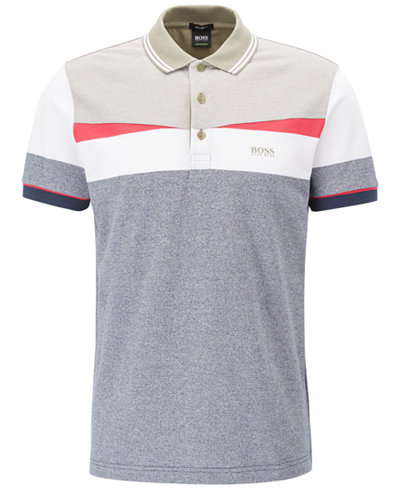 BOSS Men's Regular/Classic-Fit Colorblocked Cotton Polo