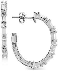 Swarovski Zirconia Linear Hoop Drop Earrings in Sterling Silver