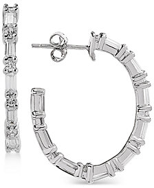 Arabella Swarovski Zirconia Linear Hoop Drop Earrings in Sterling Silver