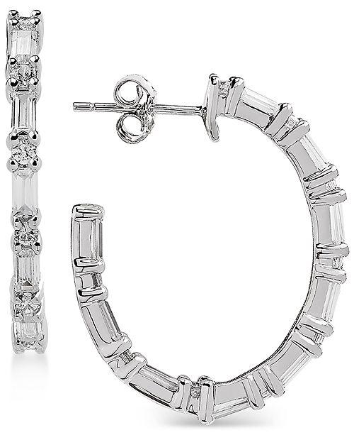 Arabella Swarovski Zirconia Linear Hoop Drop Earrings in Sterling Silver
