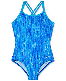 Nike 1-Pc. Printed Strappy-Back Swimsuit, Big Girls