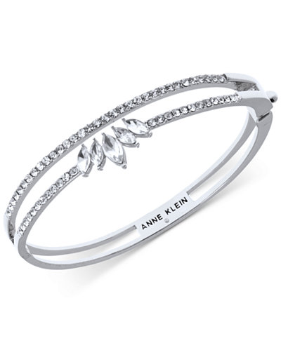 Anne Klein Silver-Tone Crystal Double-Row Bangle Bracelet, Created for Macy's