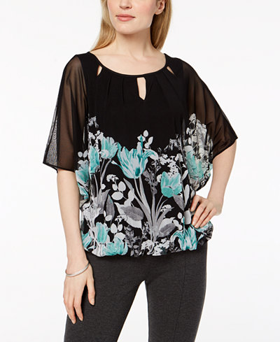 Alfani Cutout Mesh Top, Created for Macy's
