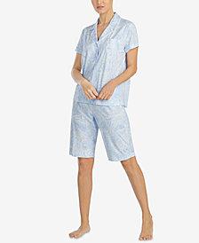 Lauren Ralph Lauren Classic Knit Cotton Bermuda Pajama Set