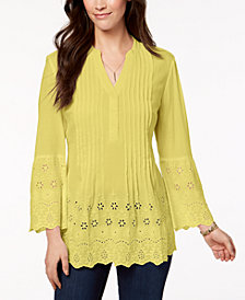 Style & Co Petite Cotton Eyelet Split-Neck Top, Created for Macy's