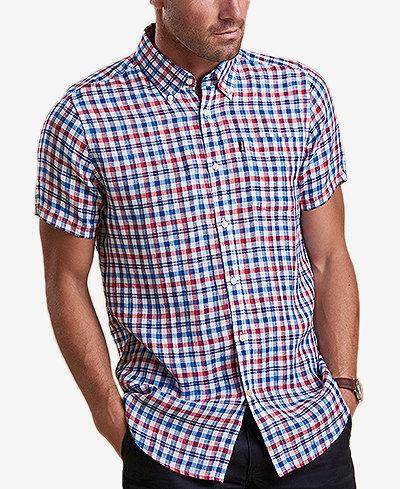 Barbour Men's Leon Tailored-Fit Navy Check Linen Shirt