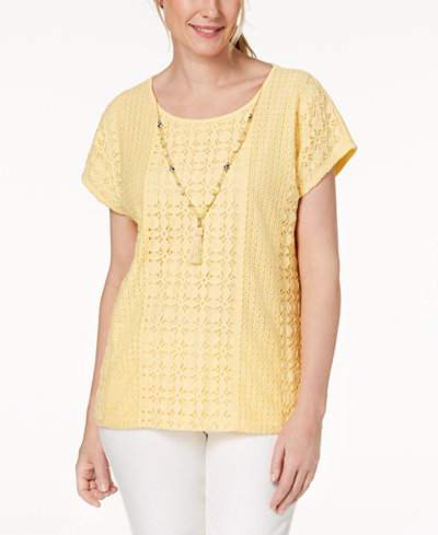 Alfred Dunner Petite Charleston Lace-Front Necklace Top