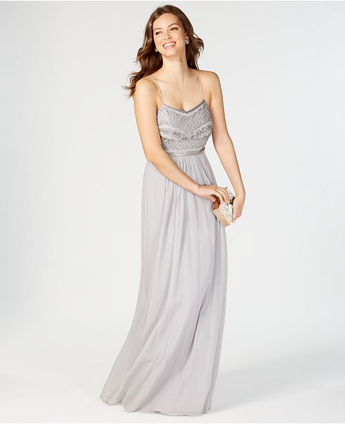 Adrianna Papell Beaded Chiffon Gown & Reviews - Macy\'s