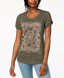 Style & Co Graphic Cutout T-Shirt, Created for Macy's
