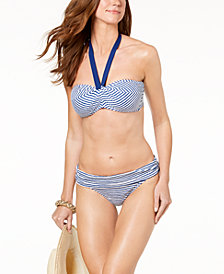 Lauren Ralph Lauren Striped Tie-Back Bandeau Bikini Top & 	 Banded-Wasit Bottoms