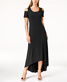 NY Collection Petite Cold-Shoulder High-Low Dress