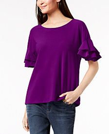 I.N.C. Petite Ruffled-Sleeve Top, Created for Macy's