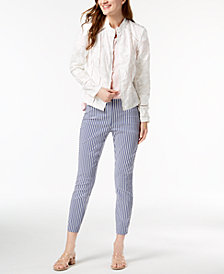 I.N.C. Embroidered Jacket, Ruffled Top & Cropped Pants, Created for Macy's
