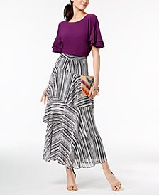 I.N.C. Ruffled-Sleeve Top & Tiered Skirt, Created for Macy's