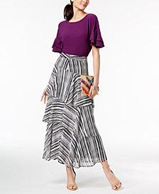 I.N.C. Ruffled-Sleeve Top & Tiered Skirt, Created for Macy's
