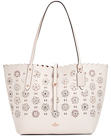 COACH Market Medium Tote with Cut Out Tea Rose