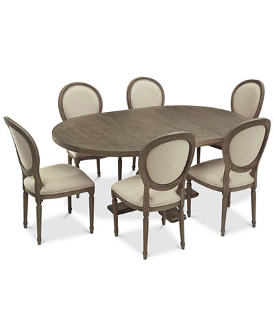 Tristan Round Expandable Dining Furniture, 7-Pc. Set (Table & 6 Side ...