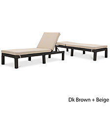Logan Outdoor Chaise Lounge (Set Of 2), Quick Ship